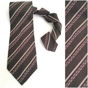Giorgio Armani Cravatte Gray Striped Silk Tie